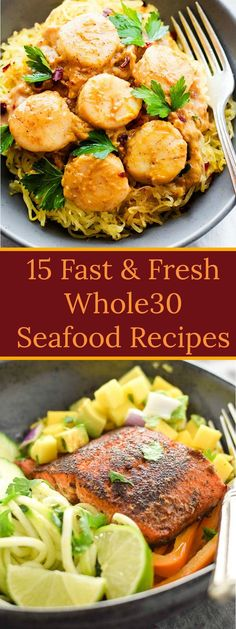 15 Fast & Fresh Seafood Recipes – Sizzlefish Your family will love these 15 Fast & Fresh Seafood Recipes. All of the recipes are easy, healthy and packed full of fresh flavors, making them a weeknight dinner wonder! Baked Salmon Recipes, Seafood Recipes, Dinner Recipes, Seafood Appetizers, Healthy Eating Tips, Clean Eating Snacks, Healthy Recipes, Whole30 Fish Recipes, Delicious Recipes