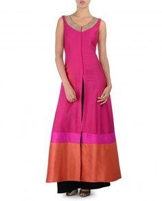 Rose Pink Kurta Set with Orange Hem