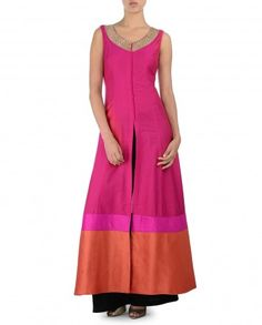 Rose Pink Kurta Set with Orange Hem