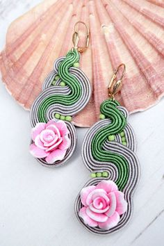 Grey Pink Soutache Earrings-Long Statement от MalisaJewellery