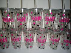 12 Personalized acrylic tumblers  -  Great bridesmaid or bachelorette gift  - buy 5 and the 6th is free.