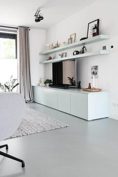 Living Room Tv Unit, Living Room Grey, Home Living Room, Living Room Decor, Deco Salon Design, White Rooms, Floor Design, Living Room Inspiration, Home Interior Design