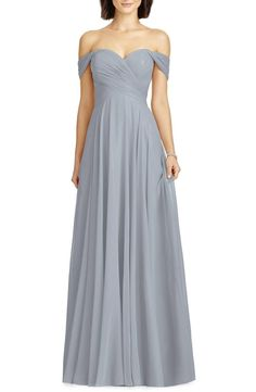 Dessy Collection Lux Ruched Off the Shoulder Chiffon Gown (Regular & Plus Size) Winter Bridesmaid Dresses, Bridesmaid Dress Styles, Wedding Dresses, Bridesmaids, Bridesmaid Color, Mob Dresses, Wedding Attire, Tulle Gown, Chiffon Gown