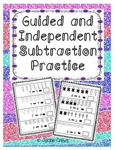 Here are 14 pages of both guided and independent subtraction practice for early learners. Some little ones need more modeling than others.  I created this packet to have guided subtraction for these students and a section for independent subtraction practice once they have become confident with their skills.