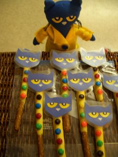 Pete the Cat and His 4 Groovy Buttons Chocolate Covered Pretzel Rods.... make with velcro and popsicle stick instead