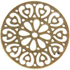 Antique Brass patterned disc Charm Steampunk style or Stencil Patterns, Stencil Art, Pattern Art, Pattern Design, Jaali Design, Custom Metal Art, Ornament Template, Laser Cut Metal, Jewelry Making Tutorials