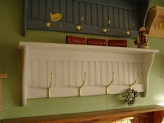 White Coat Rack Wall Shelf  36 inch with Tall Hooks 36 inch. $59.24, via Etsy.