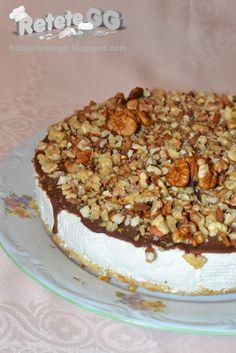 Retete gustoase si garnisite: Cheesecake cu ciocolata, nuci si migdale