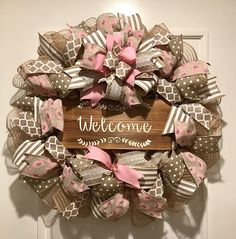 Welcome wreath summer wreath Shabby Chic pink and beige