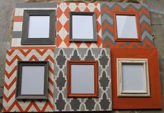 Set of 6 Distressed M O D Picture Frames in Orange and Man Cave, Chevron,Argyle,Trellis,Solid,Stripe,Multi Chevron Zig Zag on Etsy, $725.00