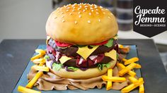 The Making of a Burger Cake! | Cupcake Jemma