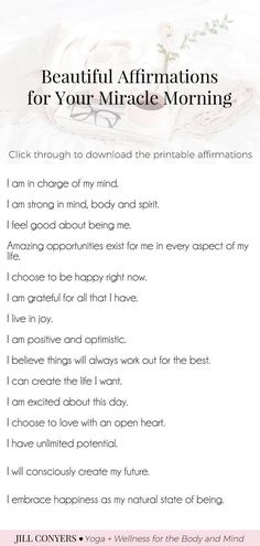 Ready to create a MIRACLE MORNING? With negative thoughts we can talk ourselves into believing that we are not good enough. Affirmations can help you to challenge and overcome self-sabotaging and negative thoughts. Click through to download the Miracle Morning Affirmations and Inspiration printables. #miraclemorning #selflove #selfcare #quotes #affirmations