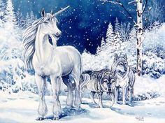 A winter unicorn... with wolves! Bless! Amen! Happy New Year unicorn lovers :-)