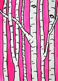 Pink Birch Forest #259 https://www.etsy.com/listing/244067127/pink-birch-forest-259-artist-trading  See my work in person at:  @Whitman Works Company