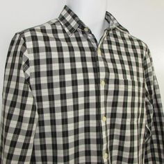 G H Bass Heritage Collection Casual Shirt Slim Fit Plaid 100% Cotton sz Small #GHBass #ButtonFront