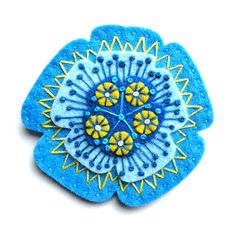 Poppy felt brooch with freeform embroidery