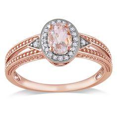 Miadora 10k Rose Gold Morganite and 1/10ct TDW Diamond Ring (H-I, I2-I3)