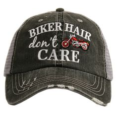 Hat {Biker hair don't care} Pink, blue or red motorcycle. – Stacy's Pink Martini Boutique