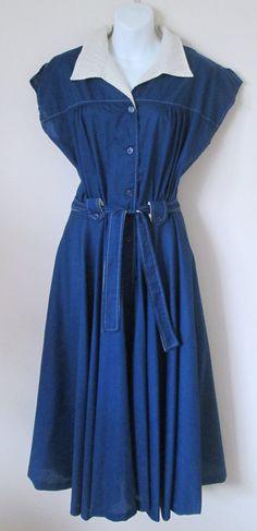 Vintage Shirt Dress Full Skirt Size 16 Blue Cotton by MrsDinkerson