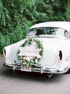 31 Neutral Wedding Color Palette Ideas Wedding Getaway Car with Wreath Perfect Wedding, Our Wedding, Elegant Wedding, Wedding Blog, Sophisticated Wedding, Wedding White, Rustic Wedding, Wedding Ceremony, Wedding Venues