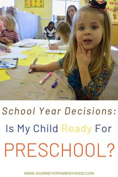 School year decisions: is my child READY for preschool? How to decide if your child is ready for a preschool program and the benefits of having a kid in pre school as a toddler or older child. Making the decision to enroll in preschool! Preschool Education, Teaching Kids, Helping Children, My Children, Preschool Programs, New Sibling, Starting School, Terrible Twos, Oldest Child