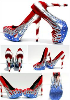 Patriotic, American Flag, 4th of July Heels with Crystals and Glitter from the lovely people @Andrea Burrow #WickedAddiction