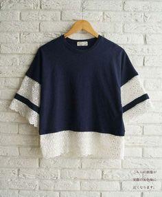 【楽天市場】(ネイビー)♪♪「french」袖と裾の繊細レース。トップス 7/29新作:cawaii