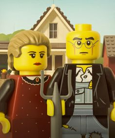 American Gothic Custom LEGO Minifigs by Powerpig Grant Wood, American Gothic Parody, American Art, Paul Gauguin, Legos, Lego People, The Rocky Horror Picture Show, Lego Minifigs, Famous Artwork