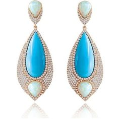 Sutra Jewels Opal and Turquoise Teardrop Earrings. Rose Gold Teardrops Covered with Diamonds Containing Pear Shaped Opal with Center Turquoise. Total Diamond Weight Total Turquoise Weight Total Opal Weight Sold at Londo Moonstone Jewelry, Crystal Jewelry, Gemstone Jewelry, Estilo Fashion, Expensive Jewelry, Turquoise Earrings, Teardrop Earrings, Jewelery, Jewellery Earrings