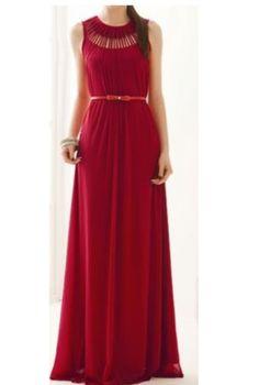 Vestido vermelho, comprido - Novo Tamanho: M - Busto: 80-95 cm - Distancia de ombro a ombro: 34 cm - Comprimento: 155 cm  É tal e qual as imagens. O cinto não está incluído. Excelente qualidade