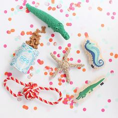 Summer & coastal dog toys- Harry Barker. Crocodile, starfish, sea horse, stripe rope tug and toss, treat tin
