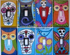 hand painted light switch plates by Regina (creative kismet), via Flickr  These are awesome!