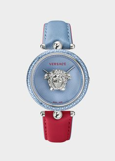 Red-blue Palazzo Empire Watch from Versace Women's Collection. The Palazzo Empire watch is a new Versace Icon. Modern Watches, Elegant Watches, Stylish Watches, Casual Watches, Vintage Watches, Watches For Men, Red Watches, Amazing Watches, Beautiful Watches