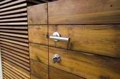 Detail of reclaimed hardwood decking used as cabinet faces for outdoor kitchen. Garage Gate, Teak Flooring, Garden Swimming Pool, Hardwood Decking, Front Gates, Gate House, Roof Deck, Cabinet Design, Teak Wood