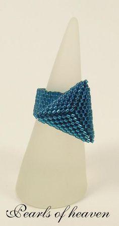 ezebee - Ring Peyote Triangle Dreieck petrol aquagrün