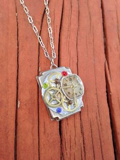 Repurposed watch/clock pendant necklace by CraftingColorado