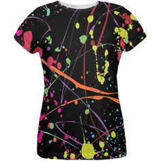 Splatter Paint Black All Over Womens T-Shirt