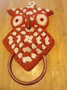 Vtg Handmade Crochet Kitchen OWL Towel Holder 1970s