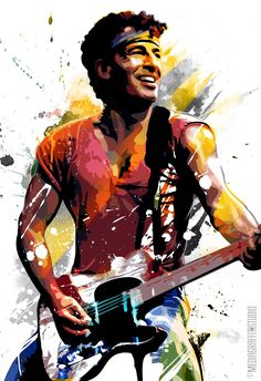 BRUCE SPRINGSTEEN - Pop Art style Music Art illustration - Poster size canvas print 18x24. via Etsy.
