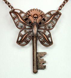 Steampunk Necklace Steampunk Vintage Key by VictorianCuriosities, $25.00