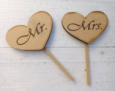 wooden heart shaped cupcake picks decorations - Google Search