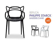 4x Replica Philippe Starck Masters Chair BLACK - Designer Stackable Dining Chair