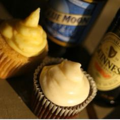 Beer cupcakes - definitely bringing these for super bowl! Yum!
