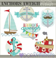 Sailboat and Anchors Clipart - for your little sailor