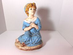 "Vintage 10.5"" Handmade Sculpture Figurine of Colonial Little Girl in Blue Dress in Antiques, Decorative Arts, Ceramics & Porcelain, Figurines 