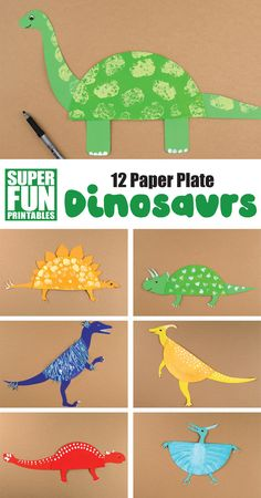 12 paper plate dinosaur crafts for kids! Make a diplodocus, triceratops, velociraptor, pterodactyl, anklyosaurus and more from a paper plate using our printable templates. So easy and fun! for kids easy boys 12 paper plate dinosaur crafts for kids Dinosaur Crafts Kids, Dinosaur Activities, Animal Crafts For Kids, Toddler Crafts, Craft Activities, Preschool Crafts, Fun Crafts, Art For Kids, Dinosaurs For Kids