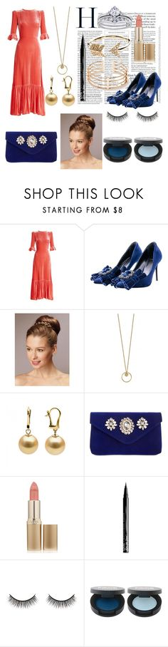 """Pink,Gold,and Navy Blue Velvet"" by ciciwild ❤ liked on Polyvore featuring The Vampire's Wife, Tipe e Tacchi, INC International Concepts, L'Oréal Paris, NYX, Battington and EF Collection"