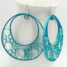 Paper Quilled Aqua Bubble earrings from HoneysHive 38.00 dollars