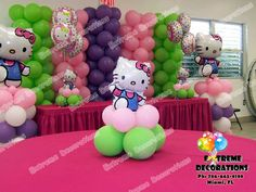 Hello Kitty Party Centerpiece.jpg 800×600 pixels like the center pieces on top of other balloons good way to hide the weights