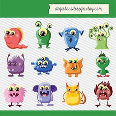 Cute Monster Clipart. MontersDigital Images. by digistockdesign, $3.00